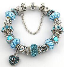 Authentic PANDORA Barrel Bracelet with AQUA HEART European Charms & Murano Beads