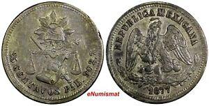 MEXICO Silver 1877 Pi H 25 Centavos San Luis Potosi Mint-19,000 KM#406.8 (119)