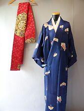 Blue Komon Kimono / Juban under wear / Nagoya-Obi belt set s3301