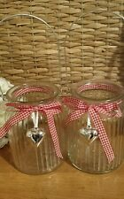 Set of 2 Glass Jar Tea Light Candle Holders with Ribbon & Hanging Heart Detail