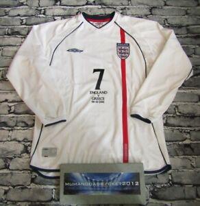 LONG SLEEVE England Beckham football shirt jersey LARGE MENS GREECE 2001 trikot