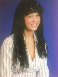 Ladies Egyptian Goddess Wig Black Tinsel Queen Cleopatra 80s Fancy Dress LONG