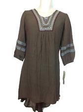 Wrangler Womens Brown Dress Sz L  3/4 Slv Crochet/ Embroidered Neck/ Sleeves NWT