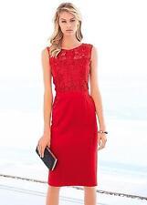 KALEIDOSCOPE LADIES RED SCUBA LACE TOP SHIFT PARTY WEDDING DRESS SZE UK 18 BNWT