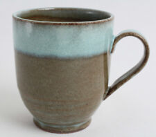 Mino ware Japanese Pottery Mug Cup Sky Blue Glaze on Moss Green made in Japan