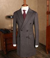 Men's Long Wool Jacket Double-breasted Outwear Overcoat Peak Lapel Blazer Suit