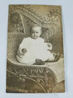 Vintage Real Photo Post Card Pretty Baby in Elegant Wicker Chair AZO 1910's?