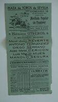 1951 Cartel Plaza de Toros Sevilla Novillada Popular sin Picadores Corrida