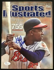 Hank Aaron Signed Sports Illustrated 7/23/07 NO LABEL Baseball Autograph HOF JSA