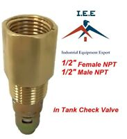 "New Brass Air Compressor In Tank Check Valve 1/2"" Male X 1/2"" Female NPT USA"