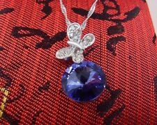 Solid Sterling Silver Butterfly Pendant made with Swarovski Crystal 3 Colours