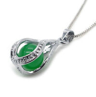 Genuine Real Chinese Green Jade Necklace Pendant Sterling Silver Chain Jewelry