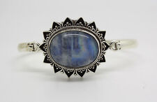 925 Sterling Silver Bracelets Moonstone Asian Jewelry Tribal Cuff  Bangle SIL4