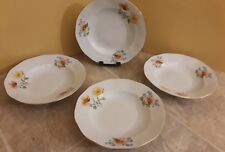 "Set of 4 JRJS Club 7.5"" Rimmed Soup Bowl -White Floral Made in Romania"