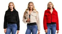 Womens Cropped Borg Trucker Jacket Top Coat Long Sleeve Ladies Faux Fur Pullover
