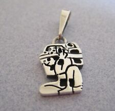 GOD CARRIER Mayan Calendar Aztec Etched Mexico 925 Sterling Silver Pendant Taxco