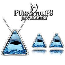 18K White Gold GP Aquamarine Pyramid Earring & Necklace Set