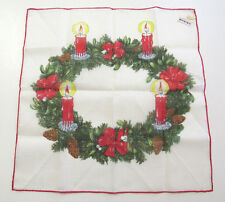 VINTAGE 1970s 80s KREIER CHRISTMAS WREATH HANDKERCHIEF COTTON LINEN BOWS CANDLES