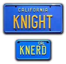 Knight Rider / KITT Trans Am / KNIGHT + KNERD *STAMPED* Prop License Plate Combo