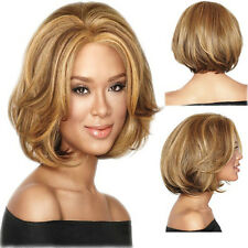 Fashion Women Short BOB Blonde Straight Synthetic Cosplay Daily Costume Full Wig