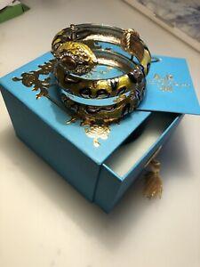 ANNA DELLO RUSSO H&M YELLOW GOLD SNAKE BRACELET BANGLE IN BOX BNWT RARE DESIGNER
