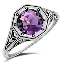 2CT Amethyst 925 Solid Sterling Silver Vintage Art Ring Jewelry Sz 8, ZF7