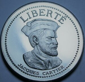 Jacques Carter 38.8mm Proof Medallion~Explorer, The Man That Named Canada~Fr/Shi