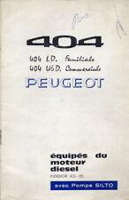 Catalogue brochure manuel notice d'entretien Peugeot 404 Diesel 03.1963