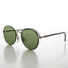Preppy Round Black & Gold Vintage 80s Tailored Sunglasses - Andy