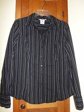 GEORGE Stretch Long Sleeve Cotton Blend Black With White Stripes Shirt - Size L