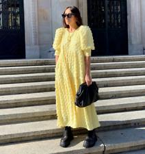ZARA YELLOW LOOSE-FITTING TEXTURED DRESS SIZE XS,S,M