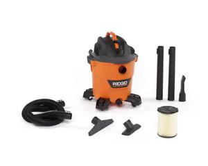 Ridgid 5 0 Wet Dry Shop Vacuum Cleaner, 12 Gal Peak HP, Filter, Hose Accessories