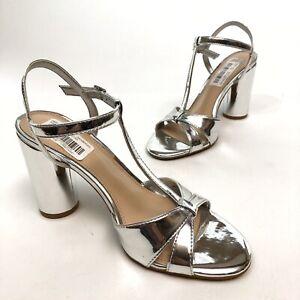 @@ Gianni Bini Women's T Strap Shoes 8 M Heels Sandals Pumps Silver Strappy NWOB