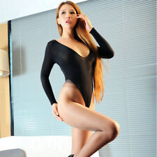 Womens Sexy Unlined Thong Sleepwear Bodysuit One-piece High Cut Leotard Lingerie
