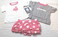 Gerber Girls 3 Piece Playwear Set 2 Shirts, 1 Skort, Flamingo Design Newborn NB