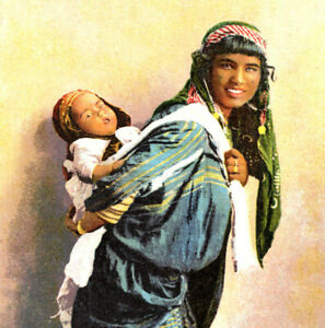 Bedouin Woman with Infant Child Papoose Rounded Corner Vintage Postcard