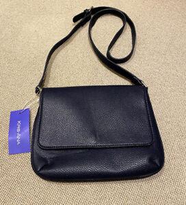 KRIS ANA pleather navy blue cross body handbag