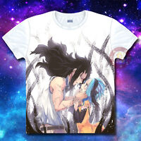 Anime Fairy Tail Gajeel/Levy Unisex T-shirt Casual Tee Costume Tops#56-F1