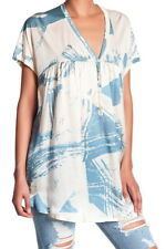 $310 Johnny Was Vidalia Silk Tunic Small 2 4 Blue Ivory Partial Button Front NWT