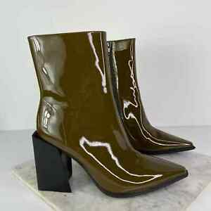 New Jeffrey Campbell Siren Green Patent Leather Chunky Heel Ankle Boot Size 7