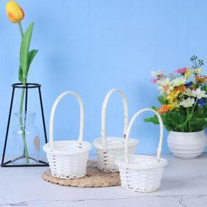 1pcs rattan woven exquisite pastoral style portable flower basketY^qi