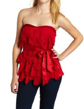 XOXO Juniors Red Strapless Ruffle Sweetheart Neckline Tube Top Size Small S