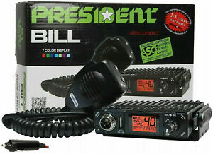 CB RADIO PRESIDENT BILL 40 CHANNELS AM FM ULTRA COMPACT MULTI NORMS TRANSCEIVER