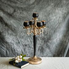 """25"""" Black Gold Metallic Candle Holders Candelabra Crystal Accents Home Wedding"""