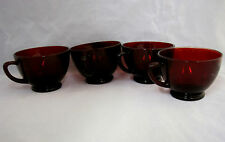 Ruby Cranberry Red Glass Footed Cups Punch Bowl Mugs Lot of 4