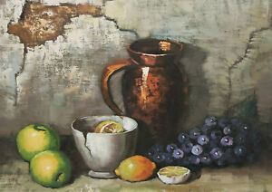 Wilhelm Schilaty - Still Life With Fruits And Vessels Grapes Lemons Apples