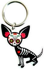 32026 Sugar Skull Chihuahua Dia de los Muertos Dog Metal Key Chain Fob Keyring