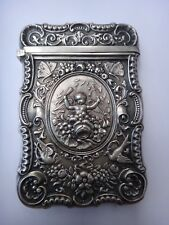 Antique Sterling Silver Calling Card Case 'Cupid & Psyche' Figural Mythology