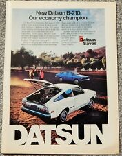 DATSUN (NISSAN) B-210 AUTO SEDAN VTG 1974 AD, RARE SOUGHT EPHEMERA