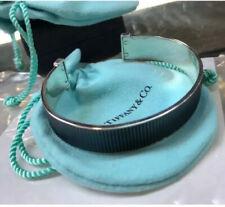 """Tiffany & Co. 925 Silver Coin Edge Black Cuff Bracelet 8"""""""